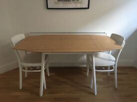 Drop-leaf bamboo dining table and chairs, like-new condition! Great for small spaces.