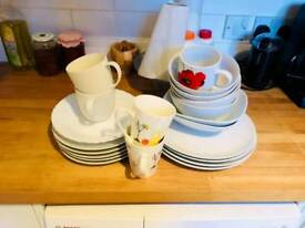 Plates bowls and cups