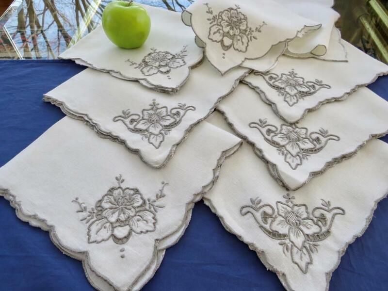 """7 Vintage Madeira Linen 17"""" Napkins Gray Floral Hand Embroidery Cutwork Scallops"""