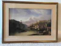 Avon Gorge, Clifton suspension bridge - Victorian Bristol - Gilt framed