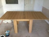 Oak effect dining table extend to seat 8 inc 4 chairs
