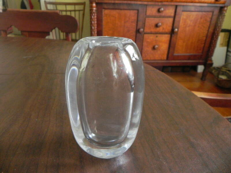 "Signed KOSTA 47814 WARFF Thick Crystal 5 3/4"" Vase HEAVY!!!!!!!!!!!!!!!!"