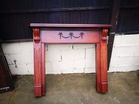 Solid Wood Fire Surround - Mahogany? - Carved Wood