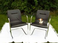Pair of black leather and chrome chairs armchairs Retro cantilever modernist