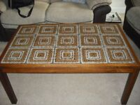 LARGE TILED TOP COFFEE TABLE BROWN