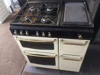 Black & cream 80cm dual fuel cooker grill & oven good condition with guarantee