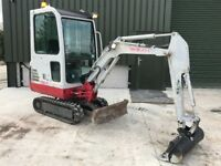 Takeuchi TB016 mini digger Cabbed. Expanding Tracks 1.5 tonNew Ditching Bucket. Finance arranged *.