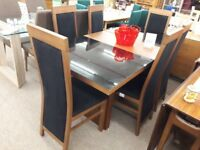 Dark Wood & Black Dining Table and 6 Fabric Chairs