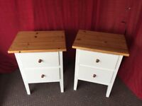 WHITE WOODEN / PINE BEDSIDE TABLE / DRAWS,CAN DELIVER