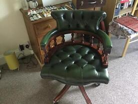 Chesterfield Green leather captains chair