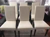 Leather Dining Chairs x 6 (Cream Leather)