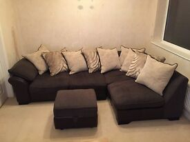 Large L-shape sofa with cushion and foot stall