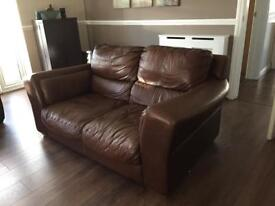 Brown real leather sofa collection only Christchurch £50 ono