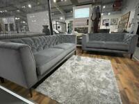 Natuzzi editions Piacere B988 grey velvet 3 plus 2 seater sofa set