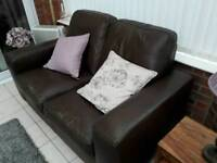 Free to a good home two sofas leather in brown