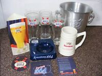 Kronenbourg Collectables. Ice bucket, Ceramic Stein, 3 Glasses, card Advert, Ashtray & 6 Drip Mats