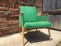 Vintage Big Quirky Reading Chair Timber Framed Comfortable 60s Mid-Century Seat