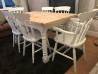 Stunning 5ft Shabby Chic Chunky Farmhouse Pine Table and 6 Chairs