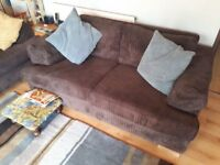 Four & Two seater sofa, chocolate colour, excellent condition.