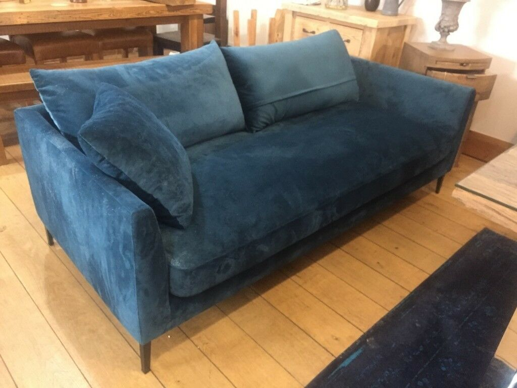 Free Damaged Petrol Blue Velvet Sofa Fault With The Material