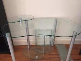 Glass Desk + footrest + printer shelf