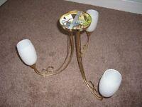 BHS - Brass Effect Metal - 3 Ceiling Light