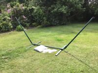 Hammock with steel frame, fabric, ropes and carabiners, new