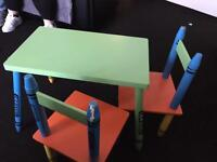 Kids crayon table and chairs