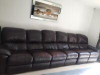 Leather corner sofa - 7 seater