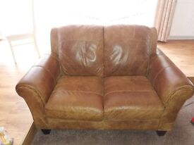 Brown Leather Suite with additional Storage Stool