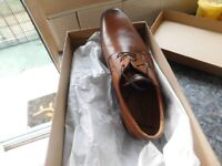 BRAND NEW MENS LIGHT TAN SHOES IN BOX BY SCHUH SIZE 42 (8) COST £65