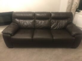 Brown Leather Sofa (3 seater)