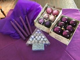 A Selection of Purple Pieces and Baubles to Decorate your Christmas Tree and the area around it.