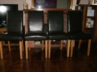 4 brown Dunelm Mill dining room chairs