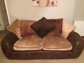 3-4 seater fabric sofa and footstool