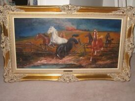 "Original Oil painting, signed by Hans Riedmann British,German artist in original frame 38.5"" X 23"""