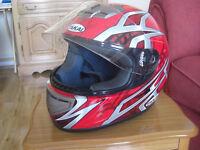 Motorbike Jacket, Gloves & Helmet.