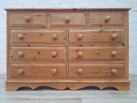 Solid Pine Chest Of Nine Drawers (DELIVERY AVAILABLE FOR THIS ITEM OF FURNITURE)