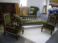 Edwardian antique oak chaise lounge and 2 matching chairs