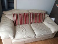 Leather sofa cream 2 seater