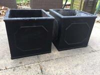 Matching pair of square black planters/pots