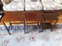 Antique Solid Mahogany Wood Wooden Nested Tables (Nest / Set of 3 Three) End Lamp Coffee Small Table