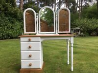Hand painted solid pine dressing table & Mirror in White