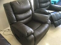 Brand New Designer Brown Top Grain Leather Electric Massage Chair
