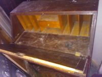 Petite old wooden flap down desk