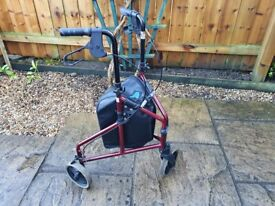 Tri-Walker - 3 Wheeled Mobility Walking Disability Aid (Rollator) - Bag, Brakes, Height Adjustable