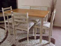 SHABBY CHIC TABLE & 4 CHAIRS PAINTED IN ANNIE SLOAN OLD OCHRE (CREAM)