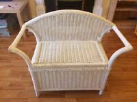 White wicker laundry basket & seat (with matching bed side table if required)
