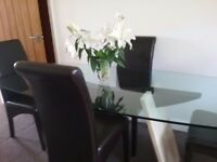 Stunning Dining Table with 4 chairs,bronzed glass and marble