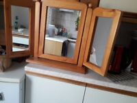 Free standing pine mirror.